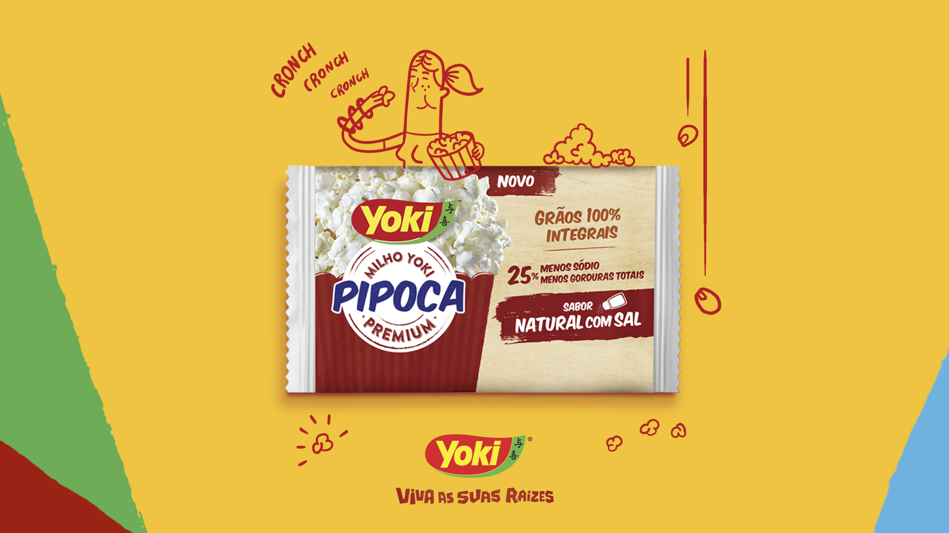 Na imagem, a ilustração em cartoon de uma mulher comendo pipoca. Abaixo do desenho, uma embalagem de pipoca Yoki. Yoki, viva suas raízes
