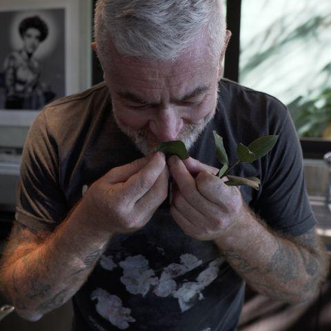 Chef Alex Atala cheira folhas de louro na cozinha de sua casa