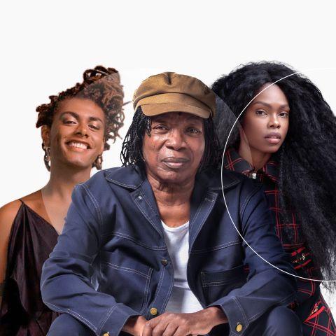 Imagem dos cantores Milton Nascimento, Liniker e Xenia França, juntos, num fundo cinza, com logo da Mastercard em marca d'água.