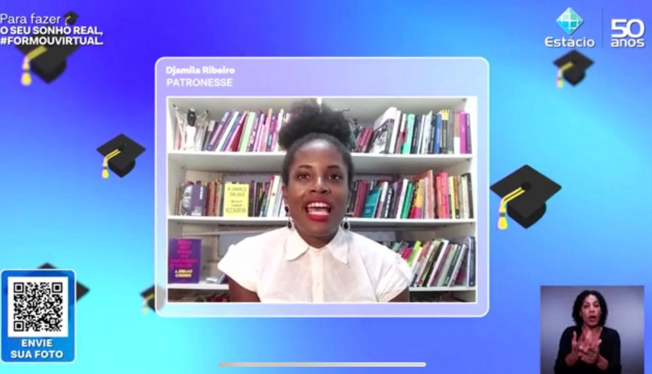 Participação da Djamila Ribeiro no evento virtual